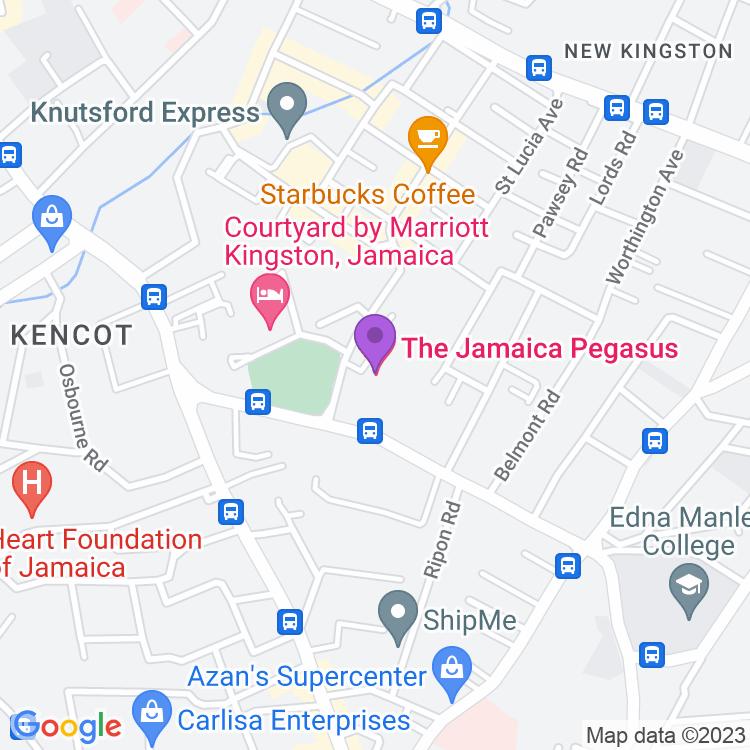 Map showingThe Jamaica Pegasus Hotel